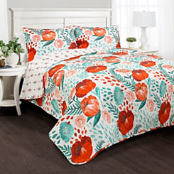 Poppy Garden 3-pc. King Quilt Set