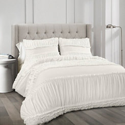 White Nora Ruffle 3-pc. King Comforter Set