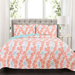 Dana Blue and Coral 3-pc. Full/Queen Quilt Set