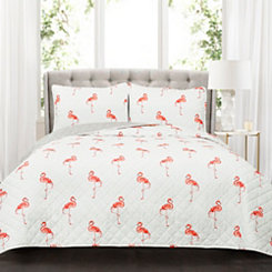 Kari Coral Flamingo 3-pc. King Quilt Set