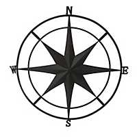 Black Metal Compass Outdoor Plaque