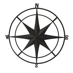 Black Metal Compass Outdoor Plaque