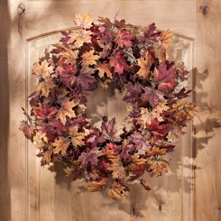 Maroon Maple Leaf Wreath