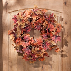 Orange Maple Leaf Wreath