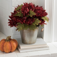 Burgundy Mum Metal Bucket Floral Arrangement