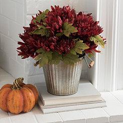 Burgundy Mum Metal Bucket Floral Arrangement