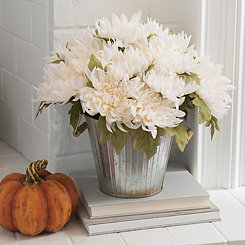 Cream Mum Metal Bucket Floral Arrangement