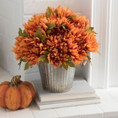 Orange Mum Metal Bucket Floral Arrangement