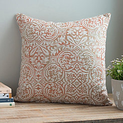 Apricot Faded Damask Pillow