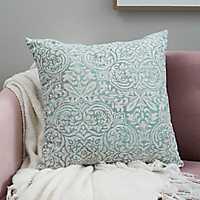 Aqua Faded Damask Pillow