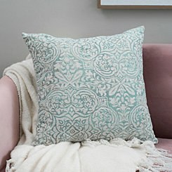 Aqua Faded Damask Pillow
