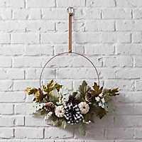 Buffalo Check Bow and Natural Fall Hoop Wreath