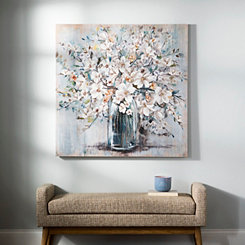 White and Blue Soft Floral Canvas Art Print
