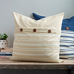 Two Tone Linen Stripe Button Pillow