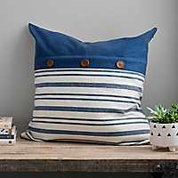 Navy Stripe Button Linen Pillow