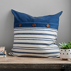 Navy Stripe Button Linen Pillow