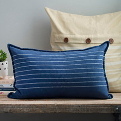 Navy Stripe Reversible Linen Accent Pillow