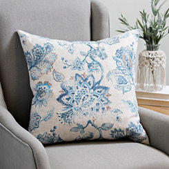 Blue Floral Linen Pillow