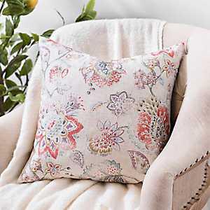 Distressed Multicolor Floral Linen Pillow