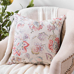 Distressed Multicolor Floral Linen Pillow