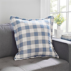 Blue and White Buffalo Check Flange Pillow