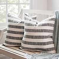 Black Stripe Slub Pillows, Set of 2