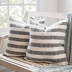 Black Stripe Slub Pillows, Set of 2