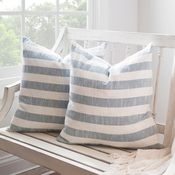 Navy Stripe Slub Pillows, Set Of 2