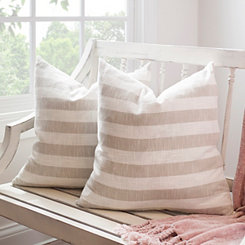 Natural Stripe Slub Pillows, Set of 2