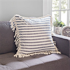 Distressed Blue Striped Pillow with Fringe