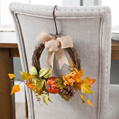 Orange Pumpkin and Leaf Wreath