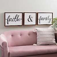 Faith and Family Framed Canvas Prints, Set of 3