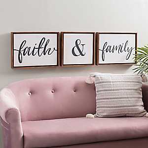 Faith and Family Framed Canvas Prints, Set of 3