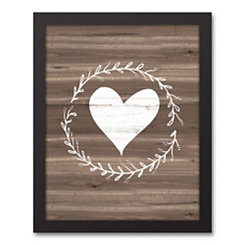 Heart Wreath on Faux Wood Framed Canvas Art Print
