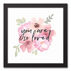 So Loved Watercolor Floral Framed Canvas Art Print