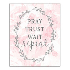 Pray Trust Wait Repeat Blush Canvas Art Print
