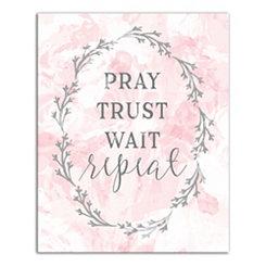 Pray Trust Wait Repeat Blush Canvas Art Print