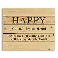 Happy Definition Wood Pallet Art Print