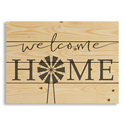 Welcome Home Windmill Wood Pallet Art Print