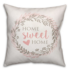 Home Sweet Home Floral Wreath Pillow