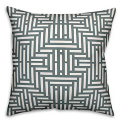Gray Geometric Stripe Pillow