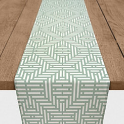 Sage Green Geometric Stripe Table Runner