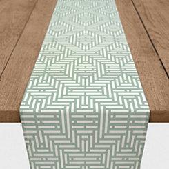 Sage Green Geometric Stripe Table Runner