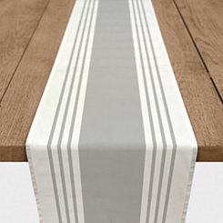 Gray Stripe Twill Table Runner