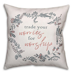 Worship Floral Wreath Pillow