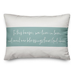 Blessings Blue Striped Pillow