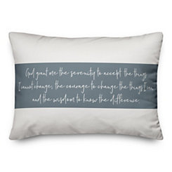 Serenity Prayer Striped Pillow