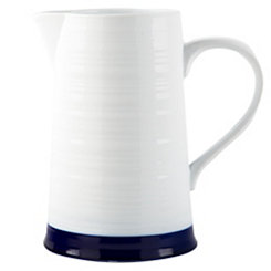 White with Indigo Color Band Ceramic Pitcher