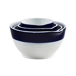White with Indigo Band Measuring Cups, Set of 4