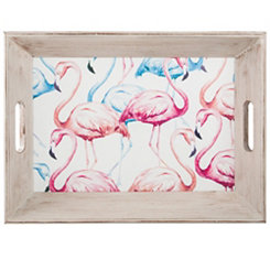 Pastel Flamingo Wood Tray